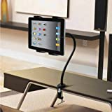 Dynamic – USA Company – Black – Quick Release Adjustable Hands Free 360 Degree Tablet mount for Bed, Car, Desk, Kitchen, Office with mounting clamp – Universal Flexible Extra-Long Arm Tablet Holder Stand – Supports all 5 to 10 inch Tablets less than 20MM Thickness, Best Gadgets