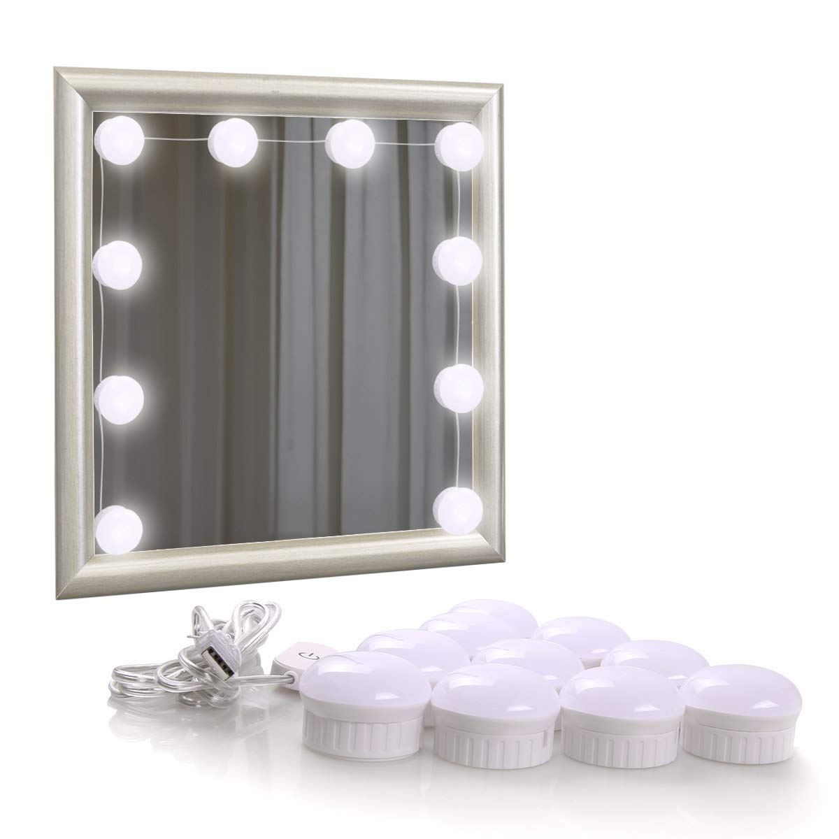 Hollywood Style LED Vanity Mirror Lights Kit for Makeup, 10 Dimmable Light Bulbs, USB Powered Lighting Fixture Strip for Bathroom Vanity Lighting/Dressing Room (Mirror Not Include)