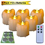 #8: Homemory 6PCS LED Votive Candles with 12 x Batteries and Remote Control, 1.5