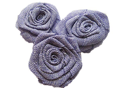 YYCRAFT 12pcs Burlap Roses Fabric Flowers for Headbands Hair Accessory DIY Crafts/Wedding Party Decoration/Scrapbooking Embellishments(2.25