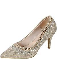 Women's Pointed Toe Glitter Crystal Rhinestone Stiletto...