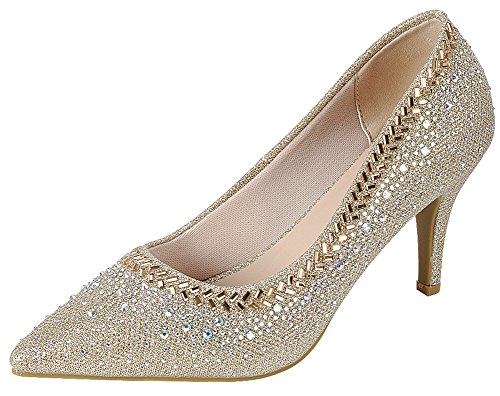 Cambridge Select Women's Closed Pointed Toe Glitter Crystal Rhinestone Stiletto High Heel Pump,5 B(M) US,Champagne
