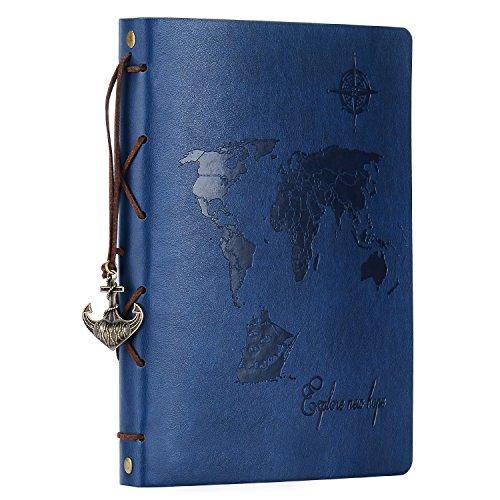 Álbum de recortes, Zeeyuan, álbum de fotos de piel de viaje, diseño de mapamundi clásico, libro de fotos, libro de...