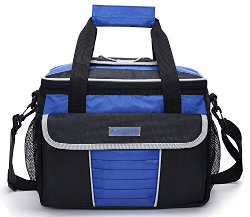 MIER Large Soft Cooler Bag Insulated Lunch Box Bag Picnic Cooler Tote with Dispensing Lid, Multiple Pockets(black and blue) (Rubber Large Soft)