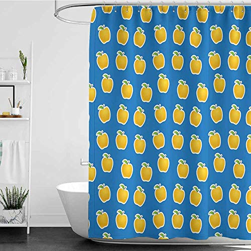 Tim1Beve Bathroom Curtains,Apple Yellow Clipart Apples on Blue Background Delicious Vegetarian Food Vitamins,Shower Curtain bar,W48x84L Blue Green Yellow ()