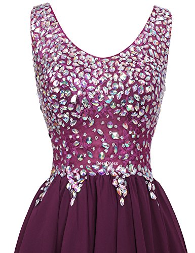 Bd093 V Breve Bordeaux Cocktail Ballo Neck Abiti Da Abiti Bessdress Chiffon Da Perline Partito xY4F7Hw7nq