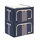 Collapsible Clothes Organizer Basket Bins with Over-sized Space, Removable Dividers, Handles and Cover for Under-bed Storage, 66l Pack Of 2 (Blue, Red) , B
