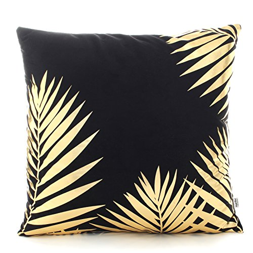 Kingla Home Bronzing Flannelettle Home Throw Pillow Cover 18 Inches Leaf Pattern Cushion Covers For (Black Leaf Pattern)