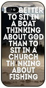 iphone 5c It's better to sit on a boat thinking about God - Bible verse black plastic case / Christian Verses