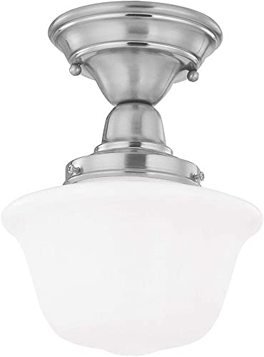 8-Inch Schoolhouse Semi-Flushmount Ceiling Light in Satin Nickel