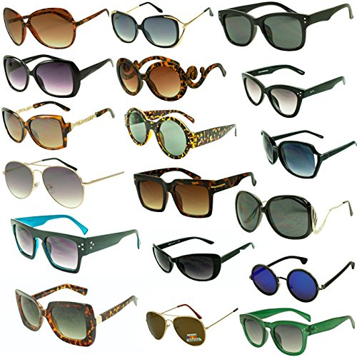 Womens-LOT-of-12-25-Assorted-Colors-Style-Retro-Classic-Vintage-Designer-Inspired-Sunglasses-Wholesale-Deal