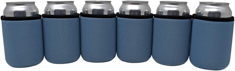 TahoeBay Premium Can Sleeves - 5mm Thick Neoprene Beer Coolies for Cans - Blank Drink Coolers (Steel Blue)