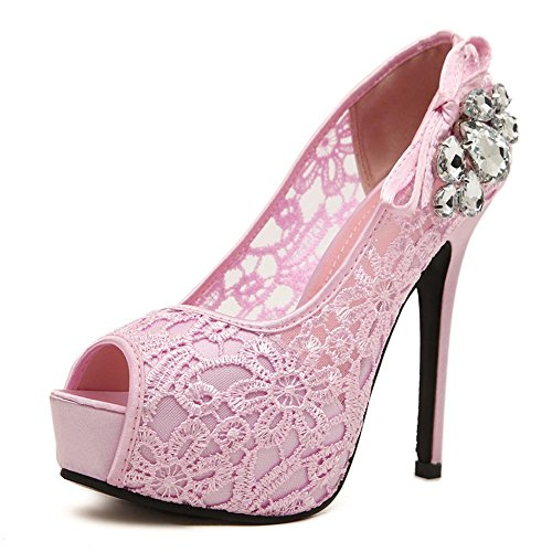 L@YC Women's High Heels Fish Mouth Drill 12cm Nightclub with a Single Shoe Shallow Mouth Code Pink