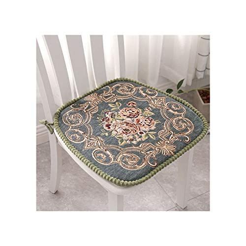 plummei Embroidered Chair Seat Cushion Rectangle Chair Pad for Home Decor Chenille Seat Kitchen Pillow Pad,Wulikanhua Lv,About 41X43Cm (Chair Embroidered Pads)