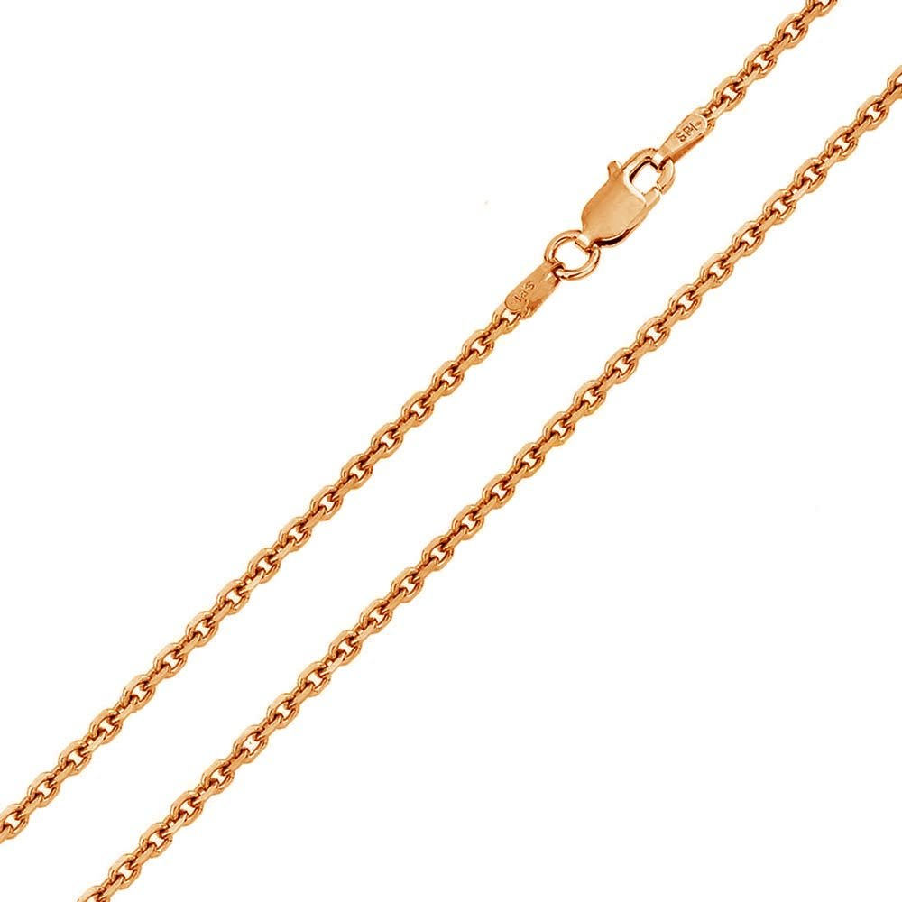 Princess Kylie Rose Gold-Tone Plated Sterling Silver DC Cable Rolo 050 Chains 1.6mm