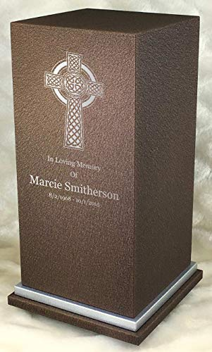 Personalized Engraved Celtic Cross Cremation Urn for Human Ashes-Made in America-Handcrafted in The USA by Amaranthine Urns-Eaton SE- Adult Funeral Urn (up to 200 lbs Living Weight) (Cast Bronze) (Urn Cast Bronze Cremation)