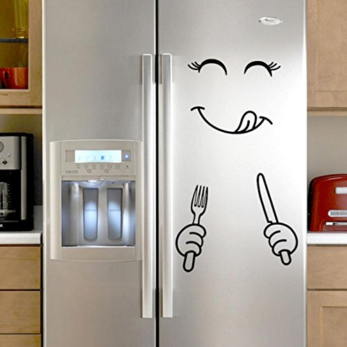 Cloudro Wall Stickers for Fridge, Removable Cute Wall Sticker for Refrigerator Room Home Decor Vinyl Art Murals Art Decal New,Happy Delicious Face (Black)