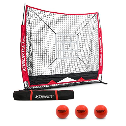 Rukket 6pc Baseball/Softball Bundle | 5x5 Hitting Net | 3 Weighted Training Balls | Strike Zone Target | Carry Bag | Practice Batting, Pitching, Catching | Backstop Screen Equipment Training Aids