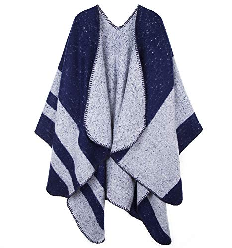 Womens Reversible Lightweight Poncho Cape Reversible Color Block Fluffy Cardigan Shawl Wrap Sweater Coat for Winter Blue