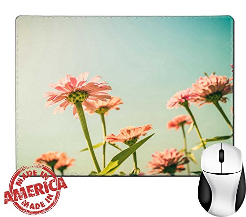 """Luxlady Natural Rubber Mouse Pad/Mat with Stitched Edges 9.8"""" x 7.9"""" Zinnia flower and blue sky in the garden nature and park vintage IMAGE 28849347"""