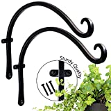 Curved Hooks and Handmade Forged Plant Bracket Wall with Triangular Fixers (2 Sets - 12 inch) More Stable Robust and Durable Black Hooks
