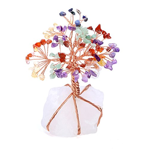 ealing Crystals Copper Money Tree Wrapped On Natural Clear Quartz Base Feng Shui Luck Figurine ()