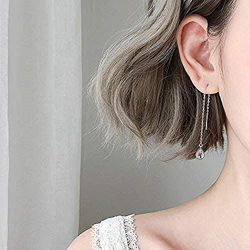 Fashion Elegant 925 Sterling Silver Drop Earrings Colorful Droplet Dangle Threader Earrings For Women