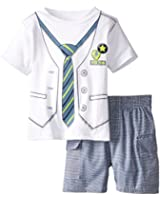 Kids Headquarters Baby Boys' Tee with Vest and Tie Screen Print and Shorts