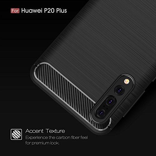 Funda para Huawei P20 Pro , IJIA Gris TPU Silicona La fibra de Carbono Suave Cover Tapa Caso Parachoques Carcasa Cubierta Al Aire Libre Case Soft Shell para Huawei P20 Pro (6.1) red