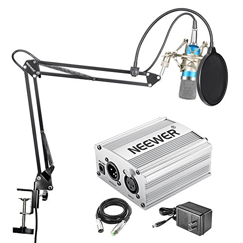 Neewer NW-700 Condenser Microphone Kit - Mic(Blue),48V Phantom Power Supply(Silver),NW-35 Boom Arm Stand with Shock Mount and Pop Filter(Black),XLR Male to Female Cable for Home Studio Recording by Neewer