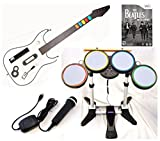 Nintendo Wii-U or Wii ROCK BAND BEATLES Game Set with Wireless Guitar, Wireless Drums and USB Microphone bundle