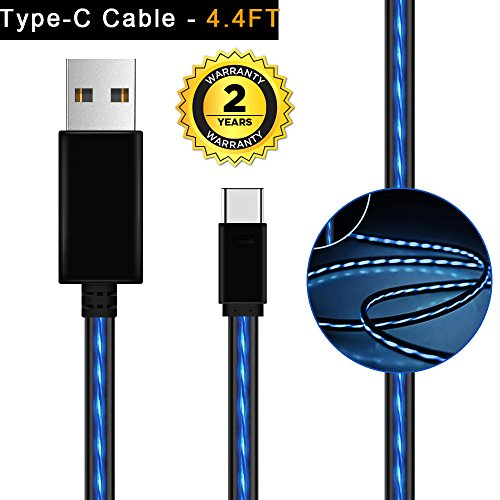USB Type C Cable,AoLiPlus 4FT LED USB to USB C Cable Fast Charger Cord for Samsung Galaxy S9 Note 8 S8 Plus,Google Pixel XL 2,LG G6 V20 V30,Nintendo Switch,Moto Z Z2 Force (Blue)