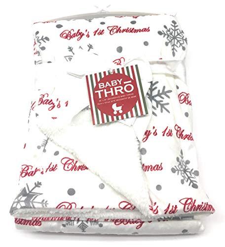 Baby's First Christmas Fleece Snowflake Blanket 30x40 - Micromink Decorative Baby Throw