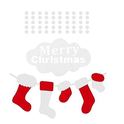 BESTOYARD Patrón de Calcetines de Navidad Vitrina Impermeable Etiqueta de Dibujos Animados Lindo Ventana calcomanías decoración