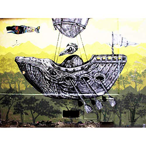 PHOTOGRAPHY GRAFFITI MURAL STREET WALL CROW WHALE BOAT 18X24'' POSTER ART PRINT LV10752