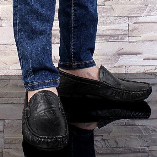 Minitoo Boys Mens Breathable Popular Moccasins Casual Penny Loafers Black
