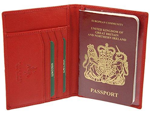Crimson Holder 2201 Case Credit Visconti Cover Fuchsia Genuine Wallet Card amp; Passport Leather w7OBRx