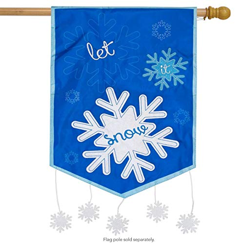 - Briarwood Lane Let It Snow Winter Applique House Flag Snowflakes 28