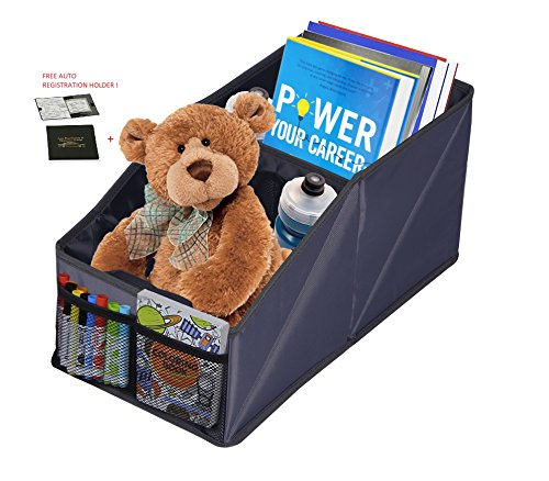 Trunk Cd (Collapsible Car Console Organizer with Auto Car REGISTRATION HOLDER Trunk Clutter-Free Bin Multiple Components for toys, books, magazines, CDs, and first aid kitswater bottles, snacks, smaller toys)