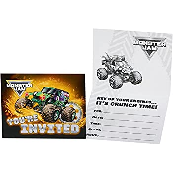 amazon com monster truck birthday party invitations fill in style