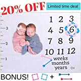 Baby Monthly Milestone Blanket For Girls, Boys and Twins. Extra Large 60'x47' with Pink and Blue Frames and Arrow Baby Photography Props For Monthly Milestone Pictures - Best Baby Shower Gift For Moms