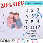 Baby-Monthly-Milestone-Blanket-For-Girls-Boys-and-Twins-Extra-Large-60×47-with-Pink-and-Blue-Frames-and-Arrow-Baby-Photography-Props-For-Monthly-Milestone-Pictures-Best-Baby-Shower-Gift-For-Moms