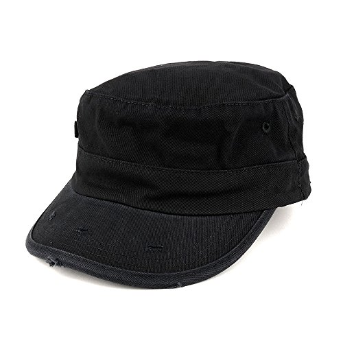 - Washed Cotton Army BDU Style Fitted Military Cap - Black - L-XL