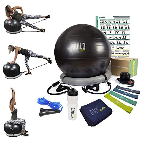 Workout Ball Set: Exercise Ball with Resistance Bands, Poster, Stability Base, Training Bands, Jump Rope, Water Bottle & Gym Towel