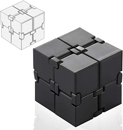 SMALL FISH Fidget Cube Infinity Toy Gadget in Metal Aluminum for Kids Teens Ideal Puzzle for Boys and Girls Best Anxiety and Stress Relief Sensory Fidgeting Game and Adults