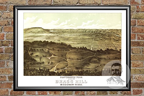 Ted's Vintage Art Chattanooga Tennessee 1887 Map Wall Art Print   Museum Quality Matte Paper   Ideal for Home & Kitchen Decor   Digitally Restored Historic Lithograph Poster 24