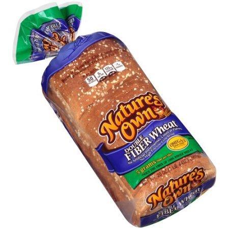 Whole Wheat Bread Fiber - Nature's Own Double Fiber Wheat Bread 20 Oz (Pack of 2)