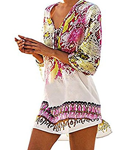 Price comparison product image ANDYICEE Womens Beachwear Cover up Swim Bikini Floral Print Beach Dress for Summer (A)