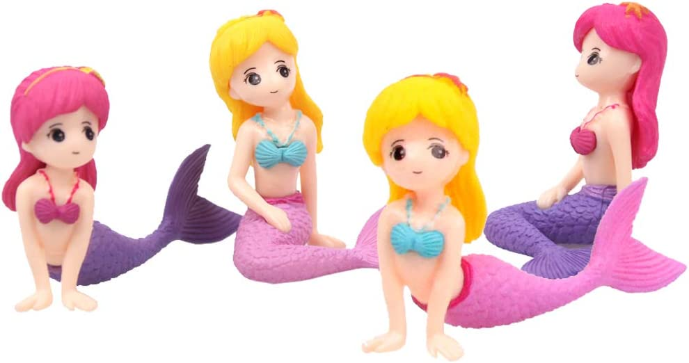 LW 4 Pcs Cartoon Girls Miniature Figurine Toys Figurines Playset, Cake Toppers, Cake Decoration