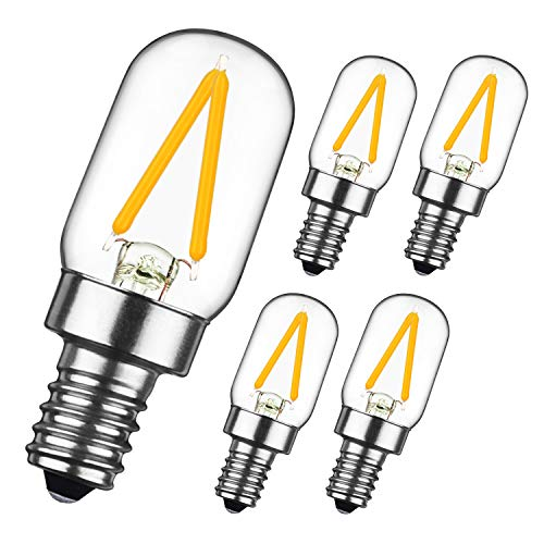 GEZEE 2W LED Filament T20 Night Light Bulb,Warm White 2700K, E12 Candelabra Base Lamp T20 Mini Tubular Shape,Refrigerator Indicator Bulb,20W Incandescent Equivalent, Non-dimmable,(5-Pack)